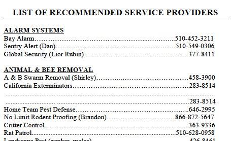 Lamorinda Service Providers